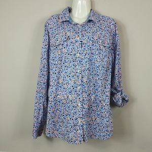 St John's Bay Button Down Shirt Large Floral